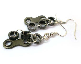 Bike Chain Jewelry Dangle Earrings from Chain Link. Gift for Bike Lover. Bicycle Earrings perfect for Anniversary Gift. Unique Jewellery.