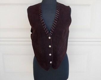 SALE 70s Suede Leather Vest Lacing Snaps Hippie Vest Unisex S, M