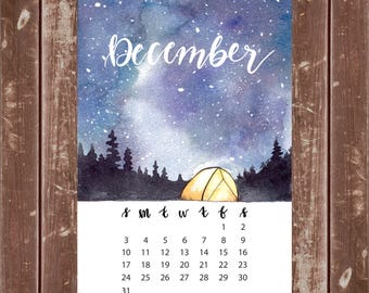 Camping Under the Starry Galaxy Mini Calendar for Journal or Planner