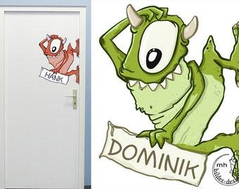 Wall decal Monster door sign creatures aliens nursery