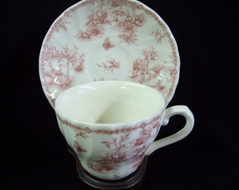 "Churchill ""Toile Pink"" Cup & Saucer Made in England"