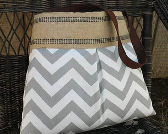 Storm Grey and White Chevron Zig Zag Pleated Handbag Purse Tote Bag with Jute Webbing