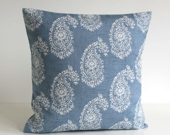 16x16, 18x18, 20x20, Paisley Pillow Cover, Accent Pillow, Cushion Cover, Shabby Chic Pillow Sham, Pillowcase, Scatter Cushion - Paisley Blue