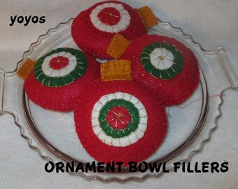 ORNAMENTS, BOWL FILLERS,  Set of Four,  Red,  Felt with Pennies,  Holiday Decor, Home Decor, Table Settings,  Hostess Gift,  Tree Ornaments