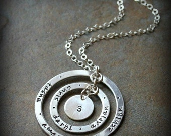 Eternity Squared Hand Stamped Personalized Mommy Grandmother Name Family Necklace