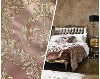 """110"""" wide- Designer Brocade Satin Damask Fabric - Pink - Drapery- Sold By The Yard"""