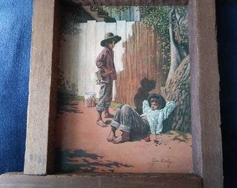 Jim Daly 'Tom Sawyer & Huck Finn' Art Print in Original Frame - 1980s