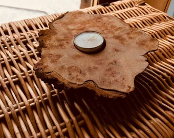 Reclaimed Chestnut Wood Candleholder; perfect for Valentine's Day Gift or Mother's Day