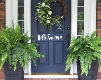 Hello Summer Door Decor Custom Vinyl letters Decal Wall Words Lettering Front Door Curb Appeal Entryway Do It Yourself