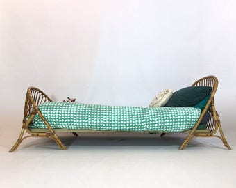 Bamboo and rattan bed, France, 1960's.