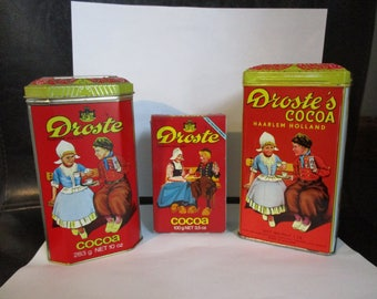 Vintage Droste's Cocoa Advertising Tins / Containers,Haarlem Holland  COCOA 10oz Tin ,1lb Tin,Cocoa Box and Pastilles-Droste Round Tin