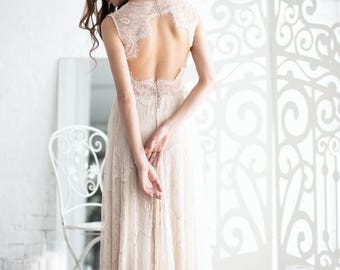 Boho wedding dress, Lace wedding dress, Bohemian wedding dress, Open back wedding dress, Ivory wedding dress, 0012 // 2017