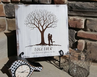 """Rustic Couple sign- Together is our favorite place to be -  14"""""""