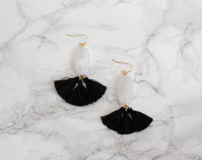 Black & White Mini Tassel Drops