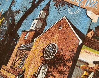 Vintage Linen Towel - Williamsburg VA Souvenir Linen - Drying Towel - Blue Colonial Kaydee Towel - NOS