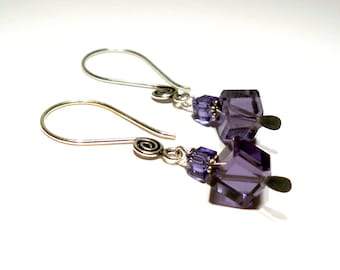 Violet Crystal Cube Drops with Silver Swirl Earrings