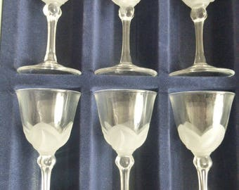 Set of 6 French Florence Crystal Wine Goblets