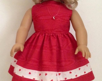 """Red Dress with heart trim made for American Girl or other 18"""" doll"""