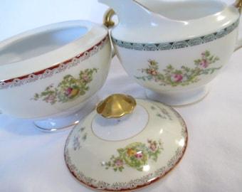 Vintage Mismatched China Sugar & Creamer Set