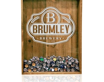 18x24 Beer Cap Holder, Bottle Top Shadow Box, Custom Beer Sign, Craft Beer, Monogrammed Beer Lover