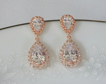 Rose Gold Bridal Earrings, Wedding Jewelry for Brides Rose Gold,  Wedding Earrings, Bridal Jewelry Jewelry Crystal Drop