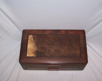 Wood Jewelry Box-Walnut with Walnut Inlayed top- The Elite Collection