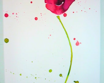 A poppy Original Ink Art on Watercolour Paper A3