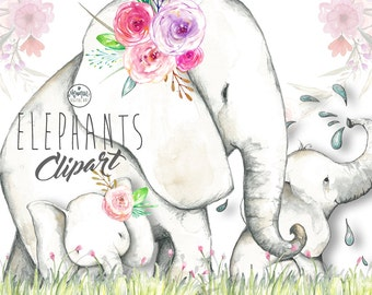 Elephant clipart, elephant watercolor, jungle animals, painted, floral, planner stickers, etsy shop resources, planner pages, cute elephants
