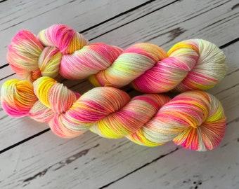 Pink Swirl Hand Dyed Superwash Merino/ Nylon/ Stellina Sock Yarn