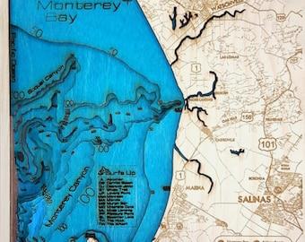 Mini Monterey Bay Area 3-D Wood Map.