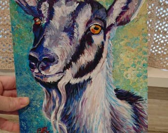 "8""x10"" Alpine Goat Acrylic Painting"