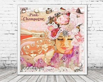 mixed media collage art - pink decor - bohemian wall art - prints