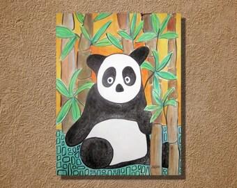 Panda Watercolor Original Painting 11 x 15 inches