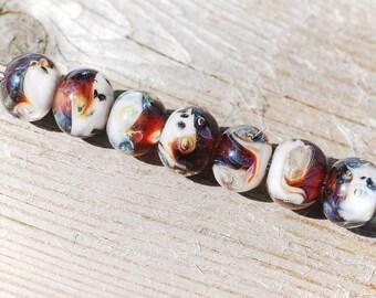 Lampwork BORO glass beads (7), borosilicate glass beads, handmade borosilicate lampwork glass beads, white, ochre, blue. borosilicate SRA