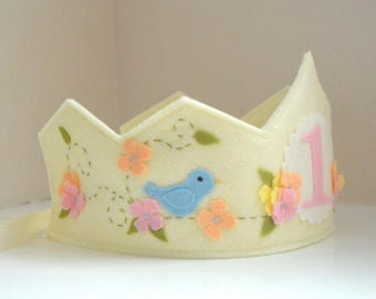 Felt Crown with Bird, Birthday Crown, Wool Felt Crown, Blue Bird, First Birthday Girl, Smash Cake