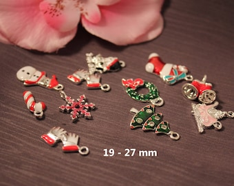 5 Charms enamel Christmas charms assorted patterns 19-27 mm