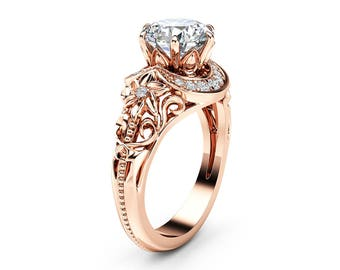 Nature Inspired Moissanite Engagement Ring 14K Rose Gold Halo Ring Moissanite Floral Engagement Ring