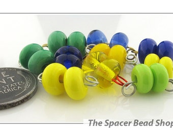 TANTALIZING TULIPS Bead PAIRS Lampwork Spacers Glass Handmade - The Spacer Bead Shop