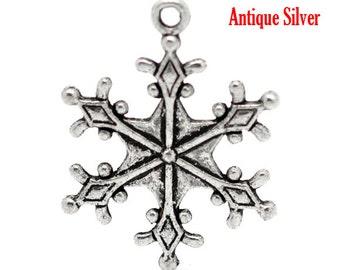 5 Snowflake Charms, Antique  Silver Tone (1H-237)