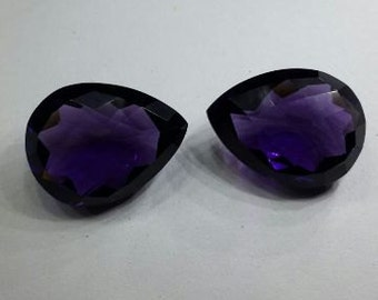 2 Pcs Matched Pair Outrageous Amethyst Quartz Faceted Pear Shaped Loose Gemstone Size 20*15 MM