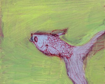 Lavender Fishie on Yellow-Green - original painting, small painting, one of a kind, affordable art, fine art by Irene Stapleford