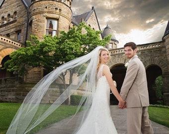 "Classic Cut Edge 108"" Wide Simple Veil, Fingertip Veil,Wedding Veil,Bridal Veil"