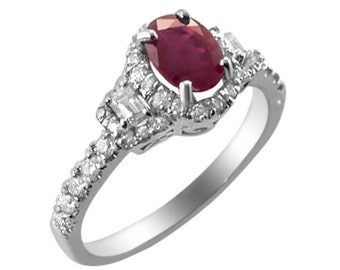 Ruby Diamond Gold Ring, Red Ruby Ring. Gevani Jewelry.