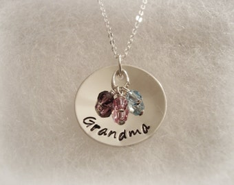 "Nonna, Oma, Grandma, Mother, Grandmother, Nana, Sterling Silver 7/8"" Necklace, 3 Birthstones, 3 children, 3 grandchildren, grandma necklace"