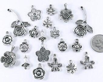 Silver Metal Flower Charms-SILVER MIX (20 Pcs)