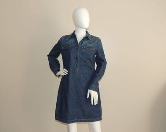 Vtg Jeans Dress, Denim Shirt Dress, Long Sleeve Above Knee Blue Jean Dress, Spring Denim Dress Size Petite S