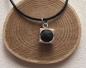 Essential Oil Necklace Black Lava Stone Diffuser Aromatherapy Jewelry Black Leather Necklace Silver Framed Lava Bead Lava Jewelry