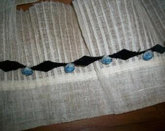 rare antique authentic ribbon work on black velvet Garland