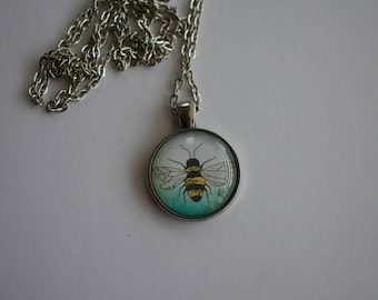 Bumble Bee Illustration, 1-Inch Pendant Necklace