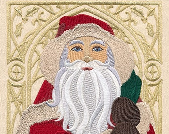 Art Nouveau Santa -Happy or Merry Christmas - Made to Order Kitchen or Hand Towel